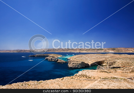 Comino Island stock photo, Landscape of Comino Island (foreground) and Gozo Island (background) in malta by Tyler Olson