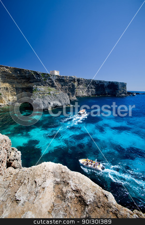 St Mary's Bay stock photo, Saint Mary's bay at Comino island, malta by Tyler Olson