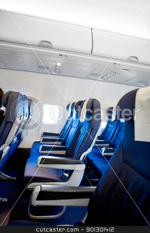 Airplane Interior stock photo, Interior of a commercial airplane  by Tyler Olson