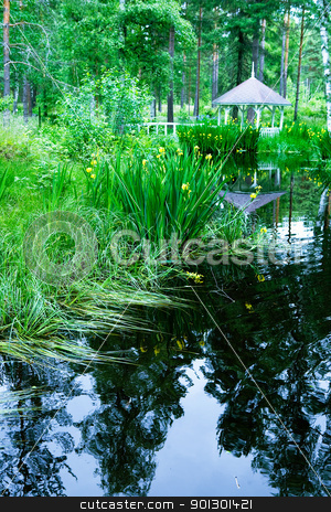 Garden Paradise stock photo, A garden with pond and gazebo by Tyler Olson