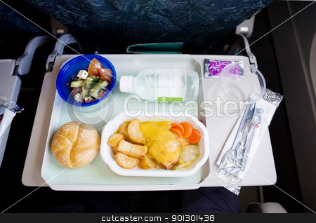 Airplane Meal stock photo, An airplane chicken and potatos meal by Tyler Olson