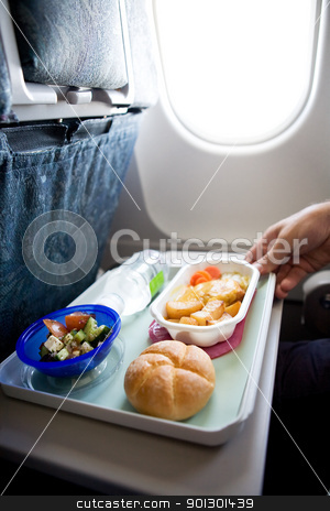 Inflight Meal stock photo, An airplane chicken and potatos meal by Tyler Olson