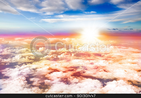 Aerial Sunset stock photo, An aerial sunset with clouds below and above by Tyler Olson