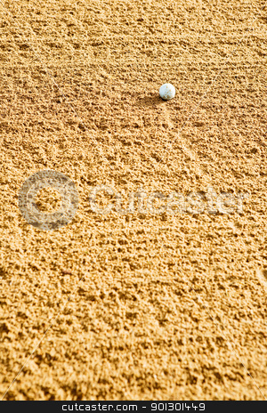 Golf Ball in Bunker stock photo, A golf ball in the bunker. by Tyler Olson