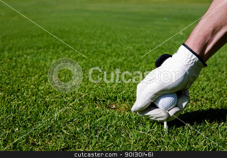 Golf Tee stock photo, A golfer sets up a tee at a driving range by Tyler Olson