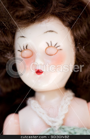 Doll Detail stock photo, A close up of a doll face - focus on the eyes by Tyler Olson