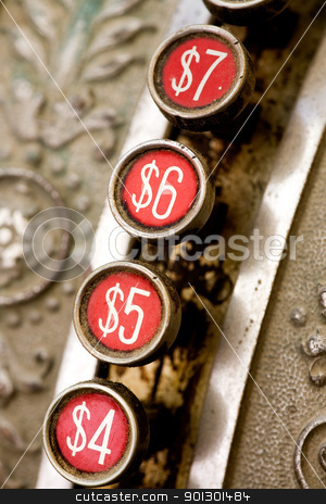 Vintage Cash Register stock photo, A detail of a vintage dirty cash register by Tyler Olson