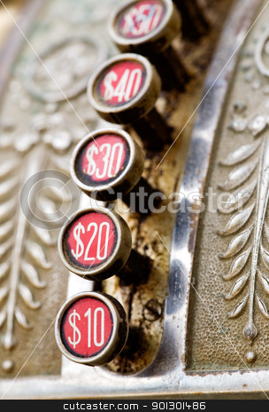 Old Cash Register stock photo, A detail of a vintage dirty cash register by Tyler Olson