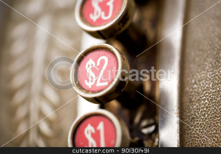 Retro 2 button stock photo, A 2 dollar button on a retro dirty cash register - shallow depth of field by Tyler Olson