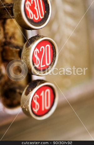 Retro 20 button stock photo, A 20 button on a retro dirty cash register - shallow depth of field by Tyler Olson