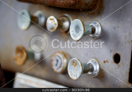 Steampunk Knobs stock photo, Pull knobs - choke and throttle with shallow depth of field by Tyler Olson