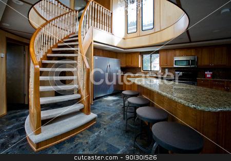 Luxury yacht interior stock photo, A luxury yacht interior - kitchen and second floor by Tyler Olson