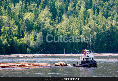 Coastal Logging stock photo, A logging boat on the coast by Tyler Olson