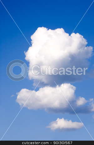 Three Fluffy Clouds stock photo, Three fluffy clouds floating in the sky by Tyler Olson