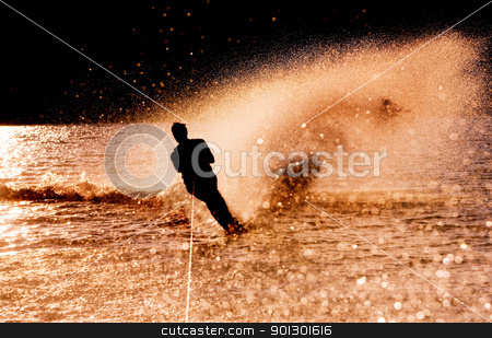 Water Skier Silhouette stock photo, Silhouette of a water skier by Tyler Olson