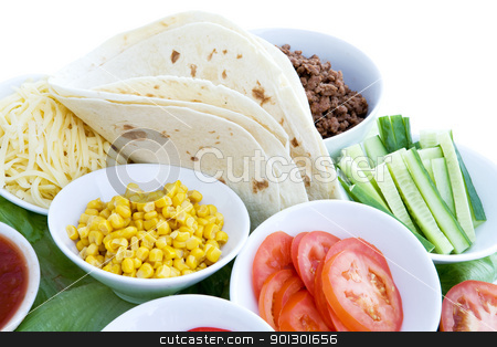 Taco Ingredients stock photo, A layout of taco ingredients isolated on white by Tyler Olson