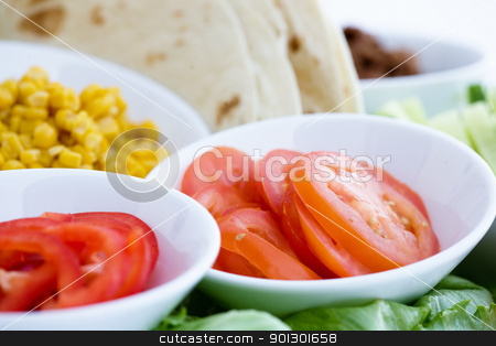 Taco Ingredients stock photo, Taco ingredients - shallow depth of field with focus on the tomatoes by Tyler Olson