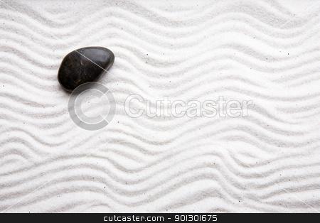 Japanese Rock Garden stock photo, Japanese zen rock garden with white raked sand by Tyler Olson