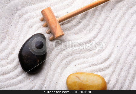 Rock Garden Background stock photo, Rock garden background with rake, stones and sand by Tyler Olson