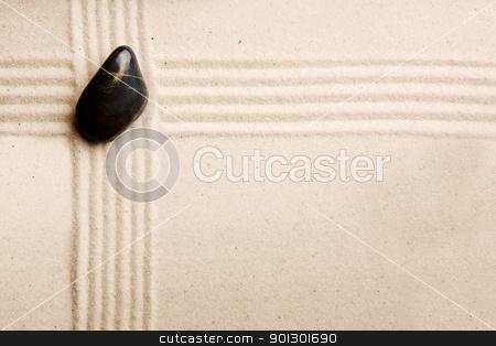 Zen Rock Garden stock photo, Stone and sand background background design by Tyler Olson