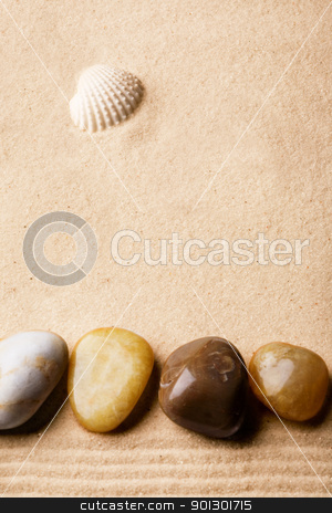 Beach Background stock photo, A beach abstract background with sand, rocks, and a shell by Tyler Olson
