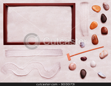 Zen Garden - Do it Yourself stock photo, A do it yourself background for zen cart - move the rocks and sand around in the box and create your own zen garden by Tyler Olson