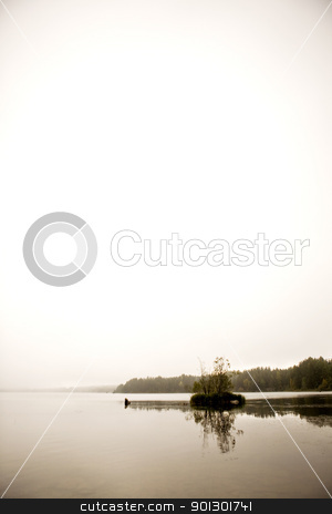 Peaceful Lake stock photo, A peaceful lake with calm fog by Tyler Olson