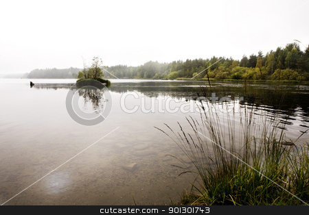 Quiet Lake stock photo, A quiet calm lake with fog by Tyler Olson