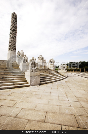 Statue Park Norway stock photo, Oslo rock statue park in Norway by Tyler Olson