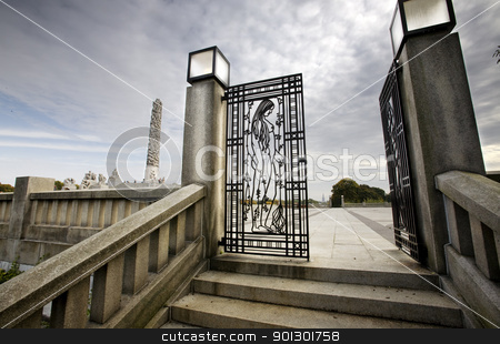 Iron Gate stock photo, An iron gate at Vigelandsparken, Oslo, Norway by Tyler Olson