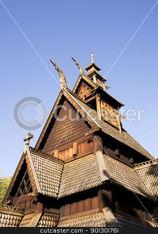 Stave Church Detail stock photo, A detail image of a stave church in Norway by Tyler Olson