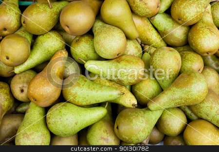 Pear Background stock photo, A large bulk bin of pairs at a fresh produce stand by Tyler Olson