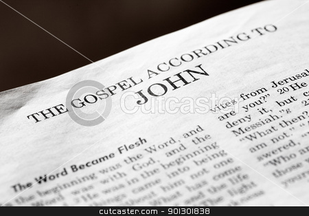 Gospel According to John stock photo, A detail of a christian bible of the start of the book of John by Tyler Olson