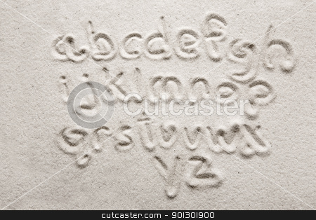 Sand Alphabet stock photo, lower case alphabet written in sand - a designers tool by Tyler Olson