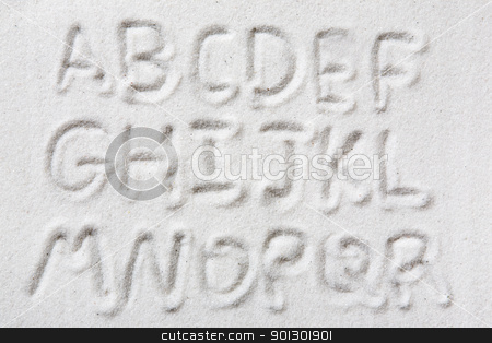 Sand Alphabet stock photo, First half of an upper case alphabet written in sand - a designers tool by Tyler Olson