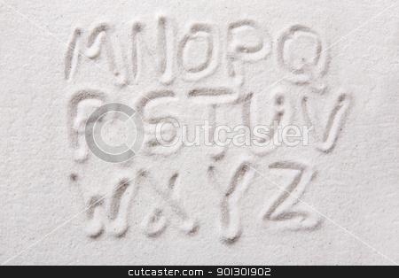 Sand Alphabet stock photo, Second half of an upper case alphabet written in sand - a designers tool by Tyler Olson