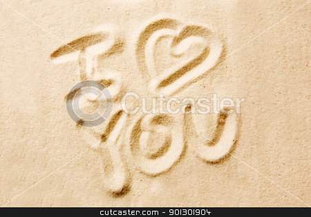 I Love You stock photo, I love you message written in golden sand by Tyler Olson
