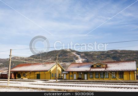 Vikersund Train Station stock photo, A local norwegian train station in the town of Vikersund by Tyler Olson