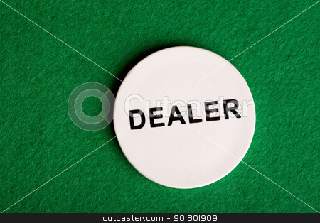 Dealer Chip stock photo, A dealer chip, part of a home poker game by Tyler Olson