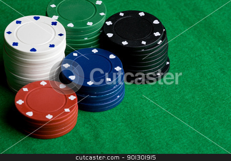 Casino Background stock photo, A background with poker chips and green felt by Tyler Olson