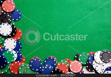 Casino Background stock photo, Casino chips on a green felt - background image by Tyler Olson