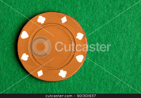 Orange Poker Chip stock photo, A $1000 orange poker chip by Tyler Olson