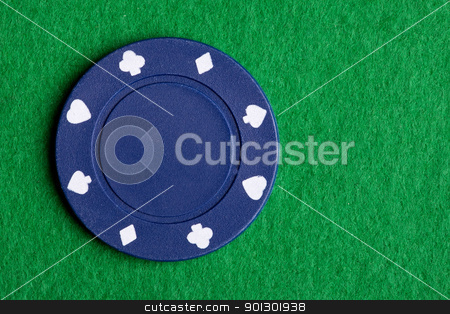 Blue Poker Chip stock photo, A low value blue poker chip by Tyler Olson