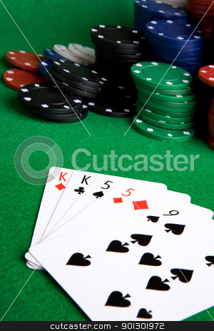 Two Pair stock photo, A poker hand with two pair by Tyler Olson