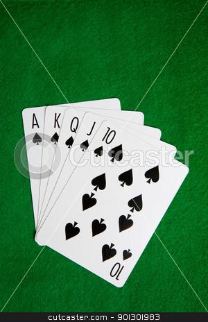 Royal Flush stock photo, A royal flush in spades on a green felt background by Tyler Olson