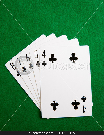 Straight Flush stock photo, A straight flush in the suit of clubs by Tyler Olson