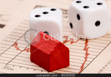 Housing Market Risk stock photo, Housing market concept image with graph and toy house with dice by Tyler Olson