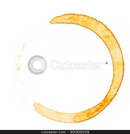 Coffee Stain stock photo, A coffee stain on a desk or paper isolated on white by Tyler Olson
