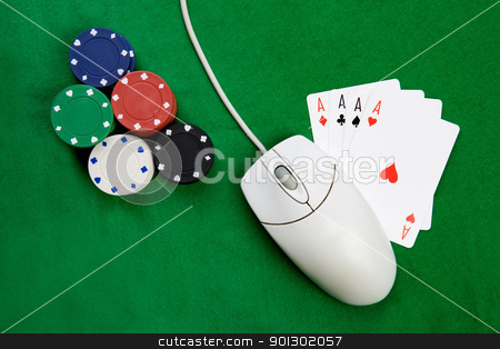 Online Gaming stock photo, An online gaming concept with computer mouse, four aces and green felt by Tyler Olson