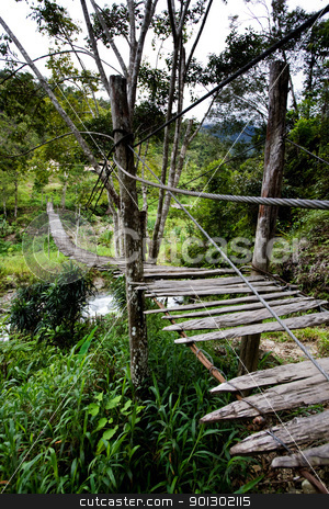 Hanging Bridge stock photo, An old hanging bridge over a river by Tyler Olson